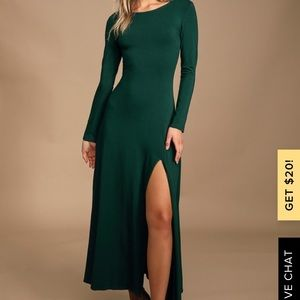 Swept Away Forest Green Long Sleeve Maxi Dress
